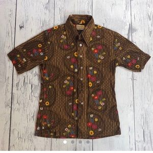 Vintage 70's floral print shirt silky